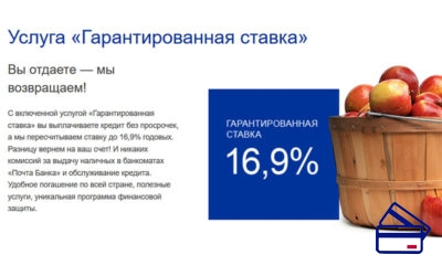 Подключение услуги Гарантированная ставка, в рамках которой осуществляется возврат до половины суммы кредита, платное и составляет 3% от запрашиваемой суммы