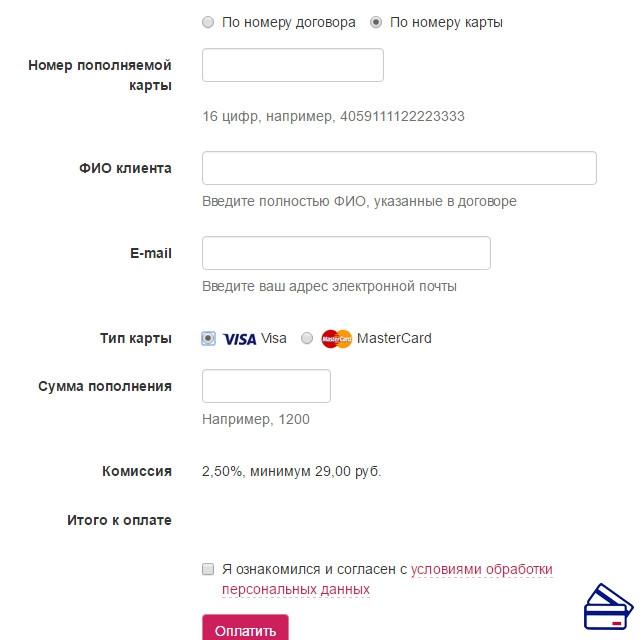 онлайн кредит по номеру карты ленорман