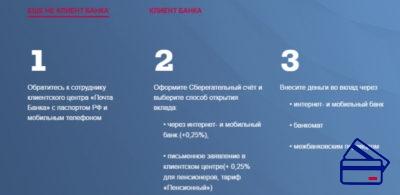 Условия не запрещают открыть вклад лицам, которые ранее не являлись клиентами Банка Почта России. Обратите внимание, что при оформлении заявки на открытие вклада через интернет банк, процент по депозиту увеличивается на 0,25%.