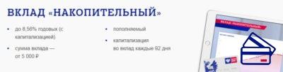 Вклад Накопительный доступен для физических лиц при внесении минимальной суммы в пять тысяч рублей. Такие условия и привлекательная процентная ставка делает депозит популярным среди населения.